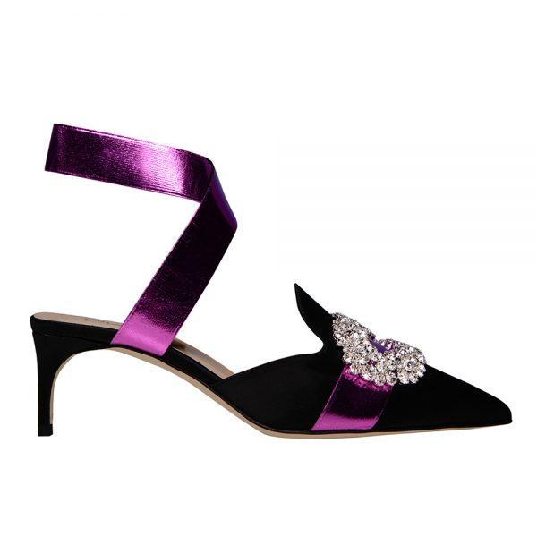 Jeweled Satin Ankle-Wrap Sandals - Giannico Official Italian Luxury Shoes