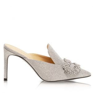 DAPHNE SILVER GLITTERED PUMPS
